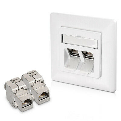 2x Shielded Keystone Jack CAT6A with Wall Socket for Ethernet Cable Connection