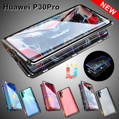 For Huawei P30 PRO Mate 20 Pro Tempered Glass Cover Magnetic Adsorption Case