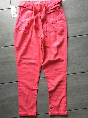 Next Denim Girls Tapered Pink Trousers Linen Mix Age 13 New With Tags RRP £15