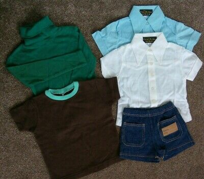 Vintage Retro deadstock 60's/70's Kids Clothes Polo Shirt shorts Age 4 Green New