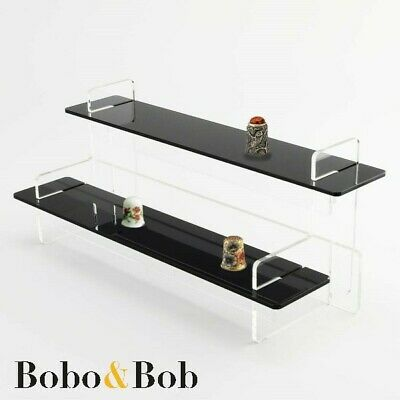Thimble Display Stand, Collection, Sewing, Tiered, Black Shelves, Acrylic