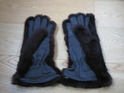 Vintage 1940s - 50s Brown Fur Gloves Gauntlets Leather Palms