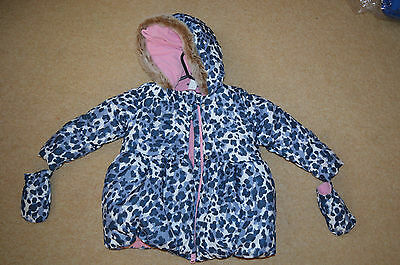 toddler girls ladybird jacket,padded hooded coat with mittens 3-4 years NEW