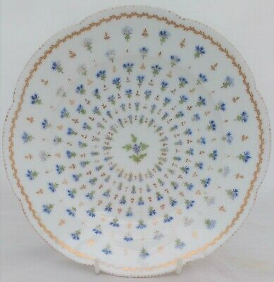Antique French Porcelain Plate Chantilly Sprigs Rue Thiroux Jean Pouyat c 1860