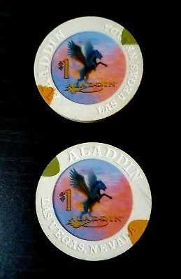 ALADDIAN CASINO LOT OF TWO $1 CHIPS   Las VEGAS  NEVADA  GAMING COIN  POKER CHIP