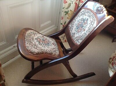Edwardian Mahogany Folding Child's Rocking Chair With Tapestry Seat And Back