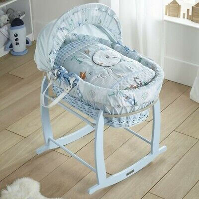 New Clair de lune blue wicker moses basket forty winks with deluxe rocking stand
