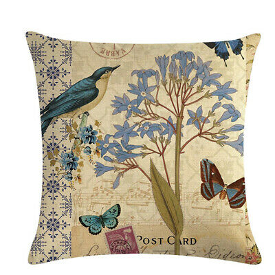 Flower Butterfly Printed Linen Cushion Cover Decorative Pillow Case Supplies 6A