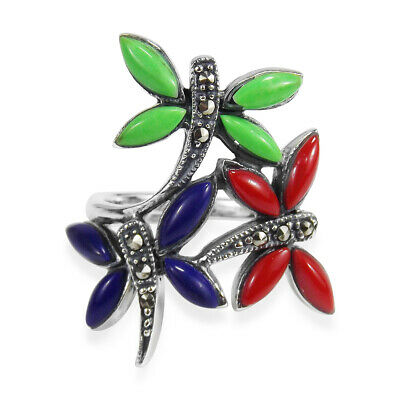 Multicolor Stone Marcasite 3-Dragonfly .925 Silver Ring-7