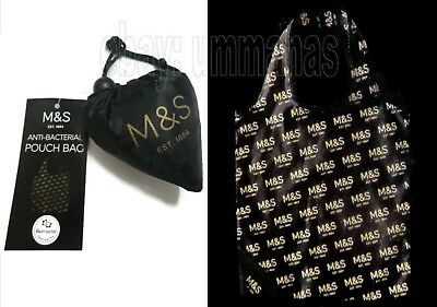 Marks and Spencer Pouch Shopping Bag 1 Reusable Black Tote Foldaway Shopper M&S
