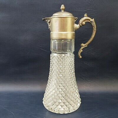 "Antique Silver Plated Lead Crystal 14"" Tall Serving Decanter Carafe Pitcher"