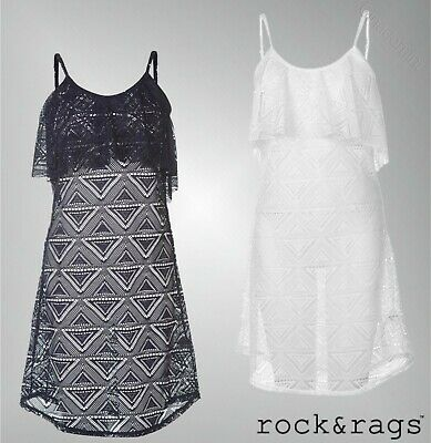 87d91b8131 Ladies Branded Rock And Rags Casual Scoop Neck V Back Mesh Beach Dress Size  8-