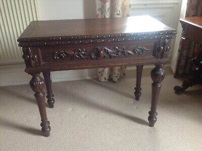 Victorian Carved Oak Card Table With Fold Over Top      (754)