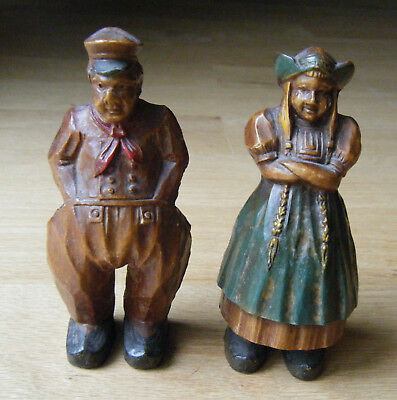 ANTIQUE Vtg SYROCO WOOD Castings Man & Woman Figurines Lot of 2