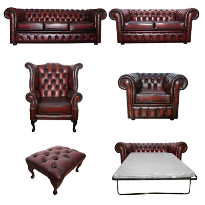 Genuine Leather Oxblood Red Chesterfield Sofa Settee 3 Seater Armchair Footstool