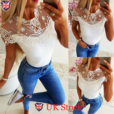Women Lace Sheer See Through Bodysuits Ladies Mesh Short Sleeve Tops Blouse Size