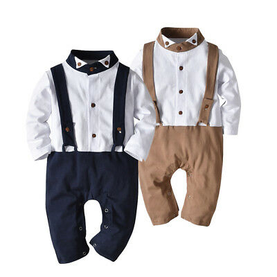 Baby Boy's Gentleman Long Sleeve Romper Outfits Toddler Kids Jumpsuit Clothes
