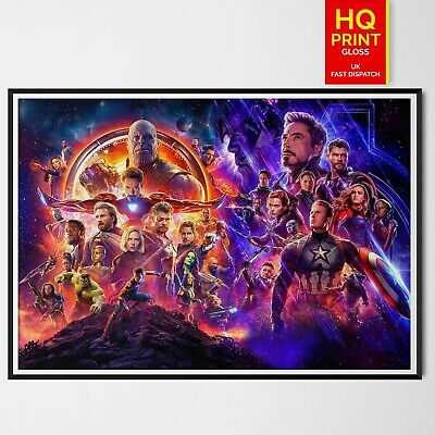 Avengers Infinity War End Game Poster Marvel Comics Art 2019 | A4 A3 A2 A1