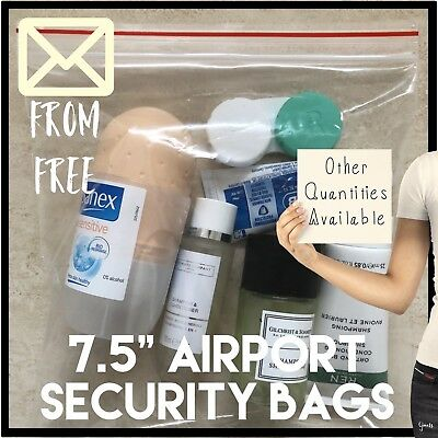 4 Airport Security Hand Luggage Liquid Resealable Plastic Bags Clear Grip Seal