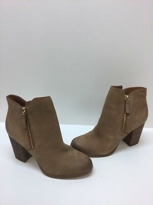 c4f7e592251 ALDO 'Emely' Beige Leather Side Zip Block Heel Ankle Boots Women's Size 9