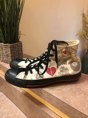 4f487349c41a Converse Sneakers Hi Top Chuck Taylor Sailor Jerry Tattoo M7 W9 Red Hearts