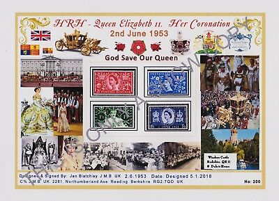 Gb1953 Qe2 Coronation Stamps Set Of 4 Designed A4 Laminated Card Free Gts (200)
