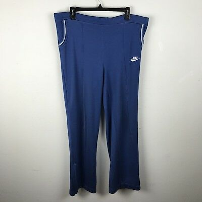 Vintage 1970s Nike Track Pants Blue Acrylic Cotton Embroidered Logo Swoosh L