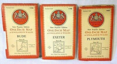 """3 x Ordnance Survey Maps Bude, Exeter, Plymouth New Popular Edition 1"""" Map 🇬🇧"""