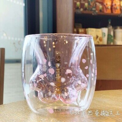 New China 2019 Starbucks Sakura 6oz Pink Cat Paw Double Wall Glass Mug