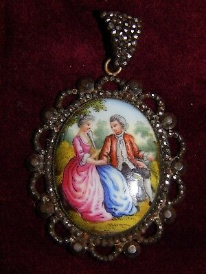ANTIQUE GEORGIAN CUT STEEL HAND PAINTED MOP PENDANT ~ COURTING COUPLE ~ 18th C