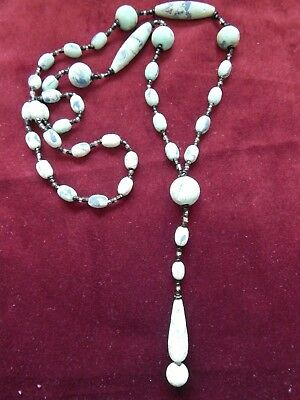 Vintage Art Deco Hand-Painted Marbled & Frosted Wooden Flapper Dropper Necklace