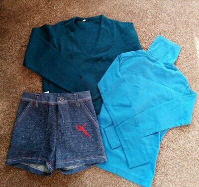 3 Vintage Retro Authentic 60's/70's shorts jumper Age 6-7 teal denim deadstock