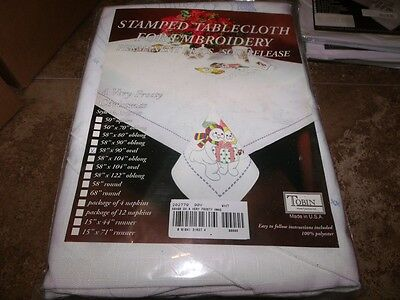"Tobin Stamped Cross Stitch Embroidery Tablecloth VERY FROSTY XMAS 58"" x 90"" OV"
