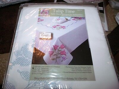"""Tobin Stamped Cross Stitch Embroidery Tablecloth TULIP TIME 50"""" x 70"""""""