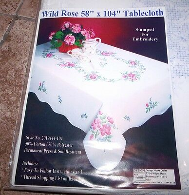 """Tobin Stamped Tablecloth WILD ROSE 58"""" x 104""""   Embroidery & Cross Stitch"""