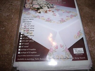 "Tobin Stamped Cross Stitch Embroidery Tablecloth FLORAL SCROLL 58"" x 80"""