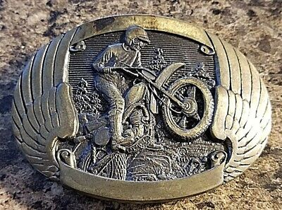 Solid Brass Motorcycle Racing Belt Buckle by Award Design Medals