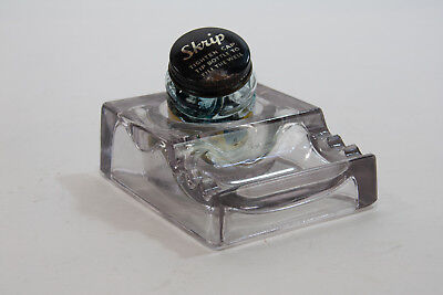 Vintage Sengbusch No. 300 Glass Inkwell with 3 Pen Slots and Skrip Ink Bottle