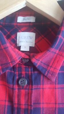 Ladies J Crew Brushed Cotton Boy Fit Check Shirt. Size Medium. Red And Navy