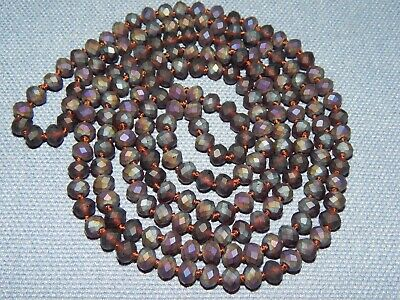 Vintage Art Deco Iridescent Amethyst Glass Flapper Bead Necklace ~ Knotted Czech