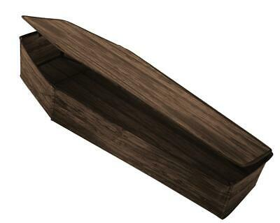 LIFE SIZE COFFIN HALLOWEEN Outdoor Prop Decoration HAUNTED HOUSE SPIRIT Brown