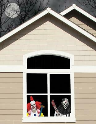 WICKED WINDOWS EVIL CLOWNS HALLOWEEN Decoration Prop HAUNTED HOUSE SPIRIT CREEPY