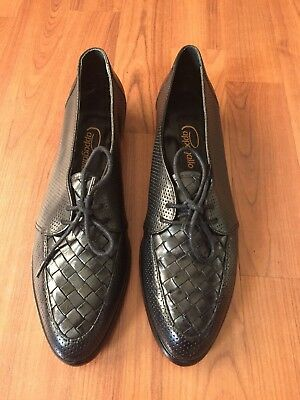 6491d6c42158a VINTAGE PAPPAGALLO BLACK Leather Weave Laced Style Women's Shoes 7.5 N Flats