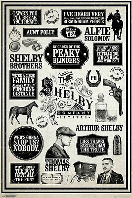 Peaky Blinders Infographic Shelby 91.5 X 61Cm  Poster New Official Merchandise
