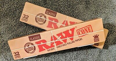 (2) Bulk Pack of 32 RAW King Size Classic Pre-Rolled Cones~New In Box