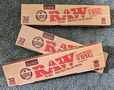 (3) Bulk Pack of 32 RAW King Size Classic Pre-Rolled Cones~New In Box