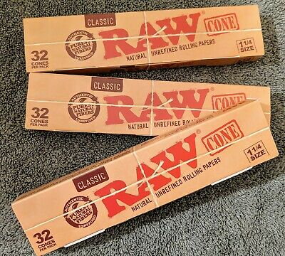 (3)RAW Classic Unbleached Cone 1 1/4 Size Pre-Rolled Cones with Filter - 32 Cone
