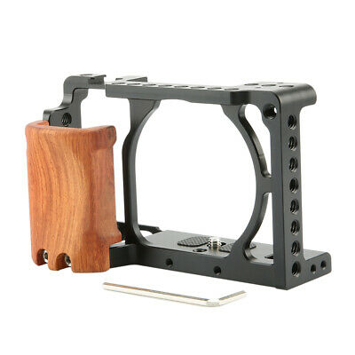 NICEYRIG Camera Cage for Sony A6400 A6300 with Cold Shoe and Wooden Handle Grip