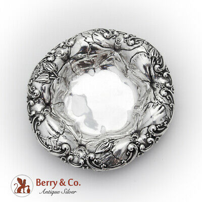Art Nouveau Repousse Hibiscus Bowl Whiting Mfg Co Sterling Silver