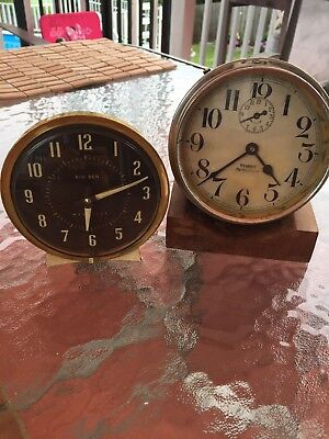 2-Vintage Westclox Big Ben De Luxe Wind Up Alarm Clock for fix or repair